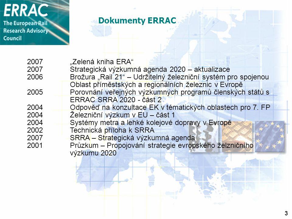 """3 2007""""Zelená kniha ERA 2007Strategická výzkumná agenda 2020 – aktualizace 2006 Brožura """"Rail 21 – Udržitelný železniční systém pro spojenou Oblast příměstských a regionálních železnic v Evropě 2005Porovnání veřejných výzkumných programů členských států s ERRAC SRRA 2020 - část 2 2004Odpověď na konzultace EK v tématických oblastech pro 7."""