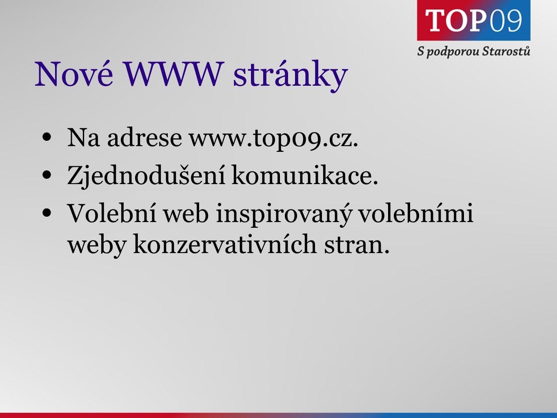 Nové WWW stránky Na adrese www.top09.cz. Zjednodušení komunikace.