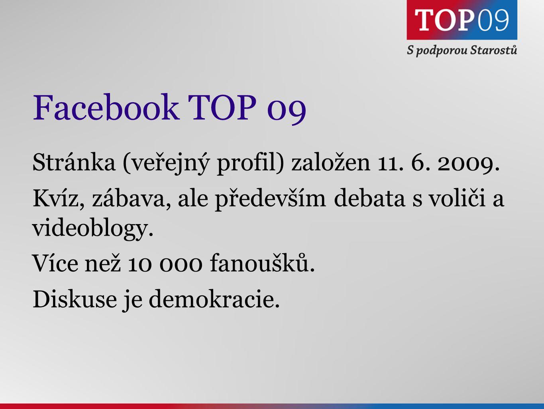 Facebook TOP 09 Stránka (veřejný profil) založen 11.