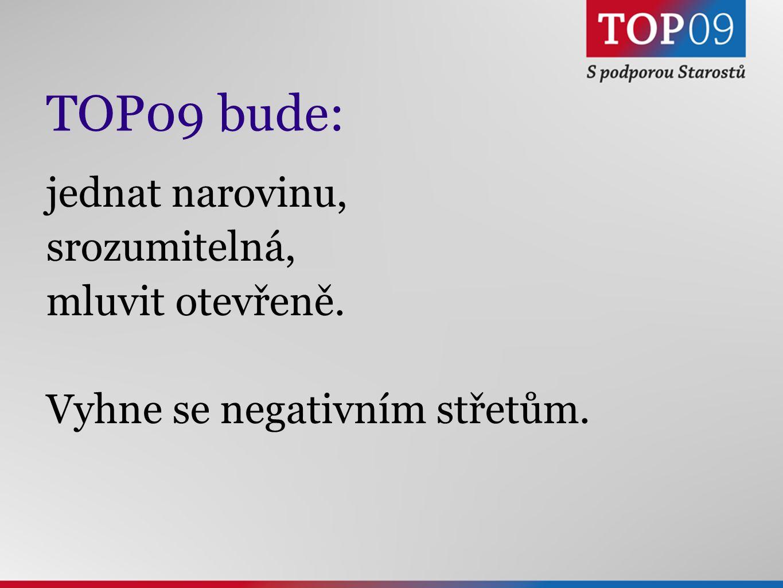 TOP09 bude: jednat narovinu, srozumitelná, mluvit otevřeně. Vyhne se negativním střetům.