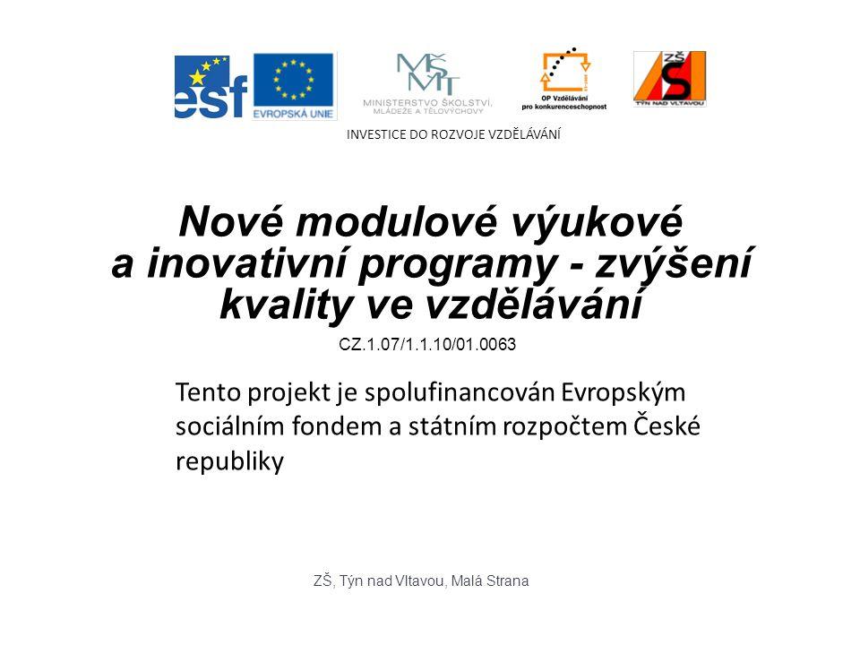 Nové modulové výukové a inovativní programy - zvýšení kvality ve vzdělávání Tento projekt je spolufinancován Evropským sociálním fondem a státním rozpočtem České republiky INVESTICE DO ROZVOJE VZDĚLÁVÁNÍ ZŠ, Týn nad Vltavou, Malá Strana CZ.1.07/1.1.10/01.0063