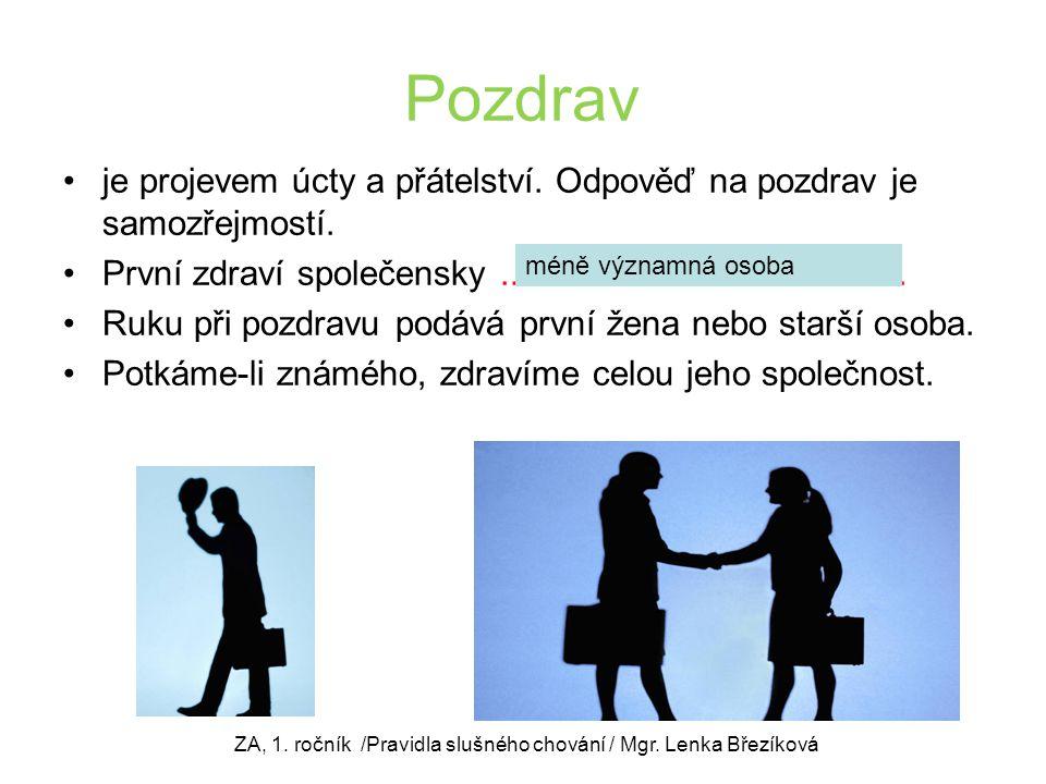 Představování platí zásady: Nejdříve se muž představuje ženě, mladší staršímu a podřízený nadřízenému.