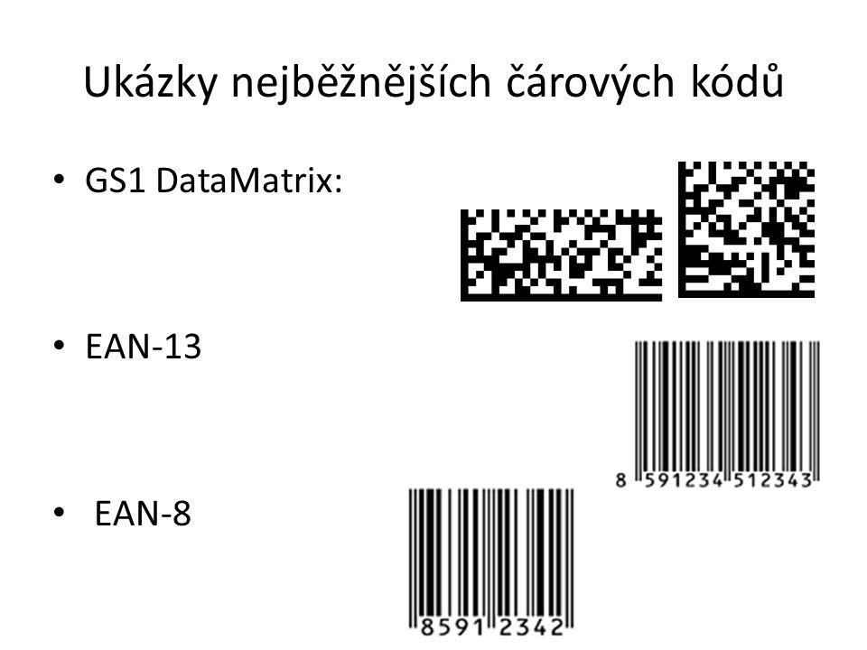 Ukázky nejběžnějších čárových kódů GS1 DataMatrix: EAN-13 EAN-8 Ukázky GS1 DataMatrix:
