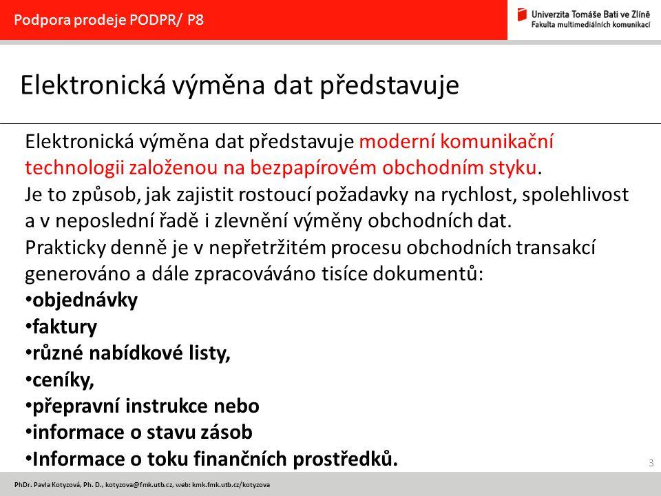 3 PhDr. Pavla Kotyzová, Ph. D., kotyzova@fmk.utb.cz, web: kmk.fmk.utb.cz/kotyzova Elektronická výměna dat představuje Podpora prodeje PODPR/ P8 Elektr