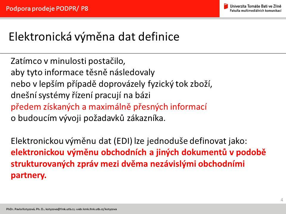 4 PhDr. Pavla Kotyzová, Ph. D., kotyzova@fmk.utb.cz, web: kmk.fmk.utb.cz/kotyzova Elektronická výměna dat definice Podpora prodeje PODPR/ P8 Zatímco v