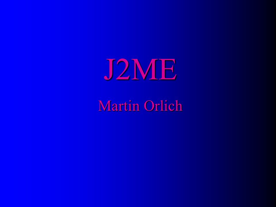 J2ME Martin Orlich Titulní stránka