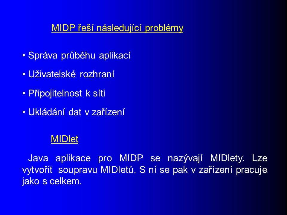Java aplikace pro MIDP se nazývají MIDlety. Lze vytvořit soupravu MIDletů.