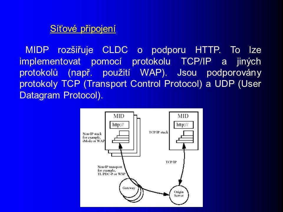 MIDP rozšiřuje CLDC o podporu HTTP.