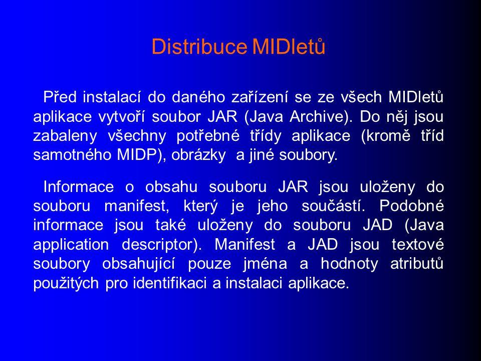 Před instalací do daného zařízení se ze všech MIDletů aplikace vytvoří soubor JAR (Java Archive).