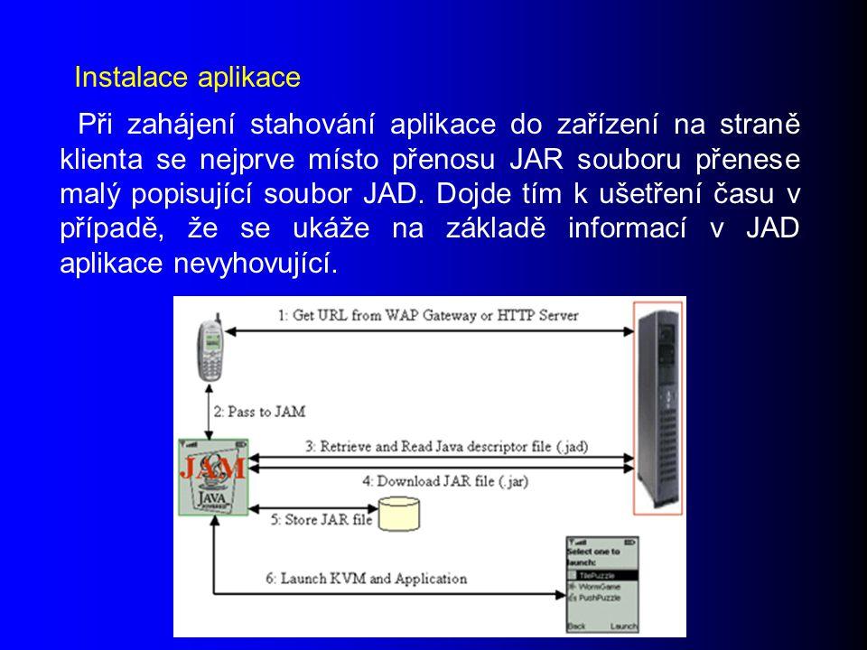 Při zahájení stahování aplikace do zařízení na straně klienta se nejprve místo přenosu JAR souboru přenese malý popisující soubor JAD.