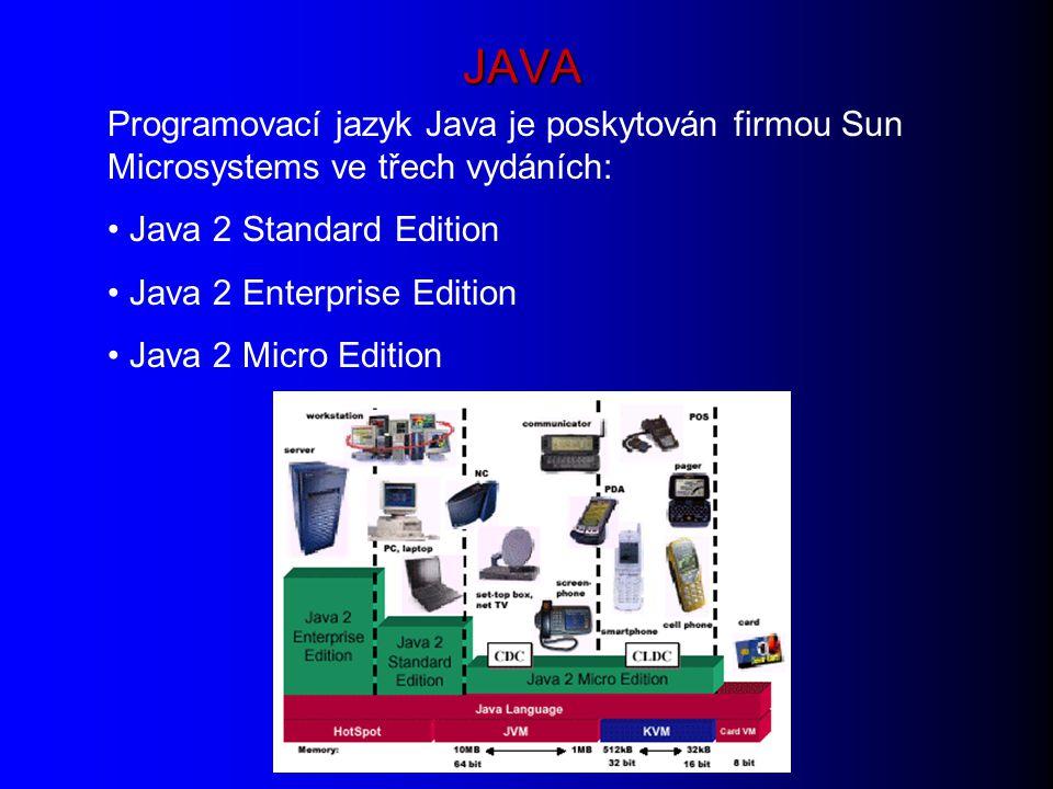 JAVA Programovací jazyk Java je poskytován firmou Sun Microsystems ve třech vydáních: Java 2 Standard Edition Java 2 Enterprise Edition Java 2 Micro Edition