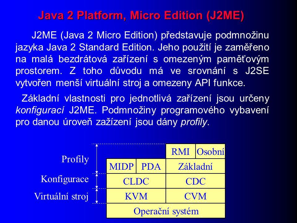 J2ME (Java 2 Micro Edition) představuje podmnožinu jazyka Java 2 Standard Edition.