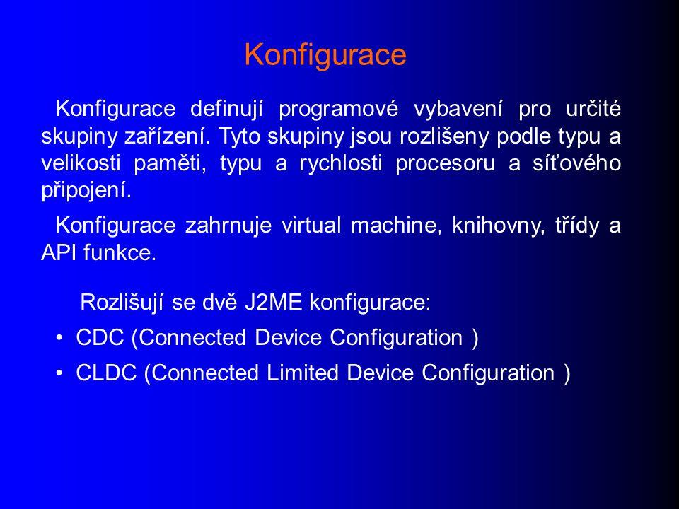 Konfigurace definují programové vybavení pro určité skupiny zařízení.