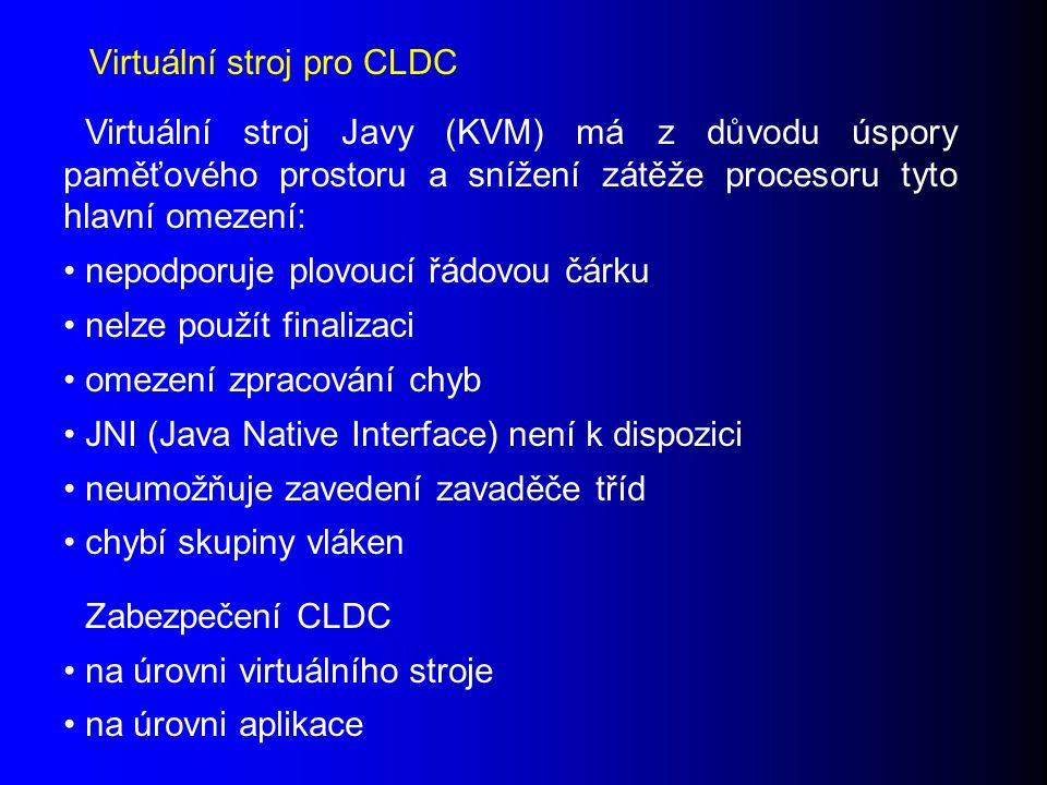 Virtuální stroj Javy (KVM) má z důvodu úspory paměťového prostoru a snížení zátěže procesoru tyto hlavní omezení: nepodporuje plovoucí řádovou čárku nelze použít finalizaci omezení zpracování chyb JNI (Java Native Interface) není k dispozici neumožňuje zavedení zavaděče tříd chybí skupiny vláken Zabezpečení CLDC na úrovni virtuálního stroje na úrovni aplikace Virtuální stroj pro CLDC