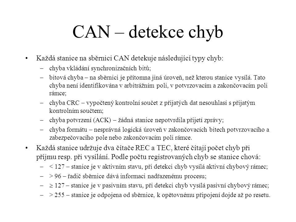 CAN – detekce chyb Každá stanice na sběrnici CAN detekuje následující typy chyb: –chyba vkládání synchronizačních bitů; –bitová chyba – na sběrnici je přítomna jiná úroveň, než kterou stanice vysílá.