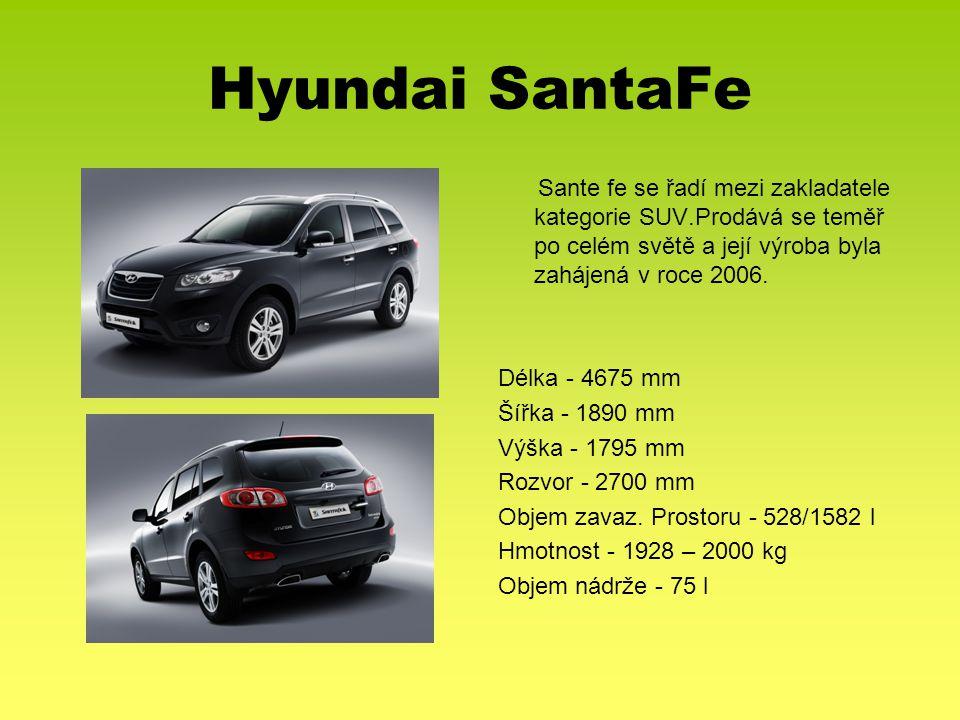 Hyundai SantaFe Sante fe se řadí mezi zakladatele kategorie SUV.Prodává se teměř po celém světě a její výroba byla zahájená v roce 2006. Délka - 4675