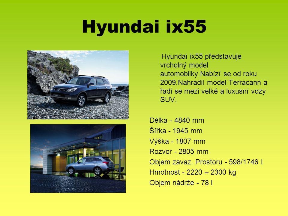 Hyundai ix55 Hyundai ix55 představuje vrcholný model automobilky.Nabízí se od roku 2009.Nahradil model Terracann a řadí se mezi velké a luxusní vozy S