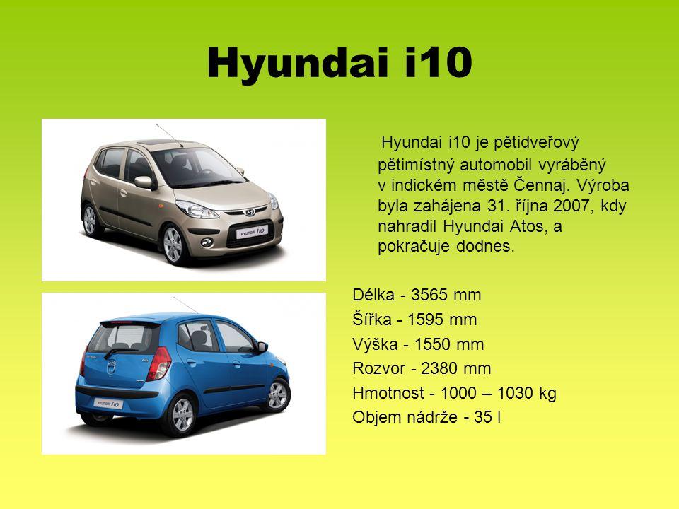 Hyundai i10 Hyundai i10 je pětidveřový pětimístný automobil vyráběný v indickém městě Čennaj. Výroba byla zahájena 31. října 2007, kdy nahradil Hyunda