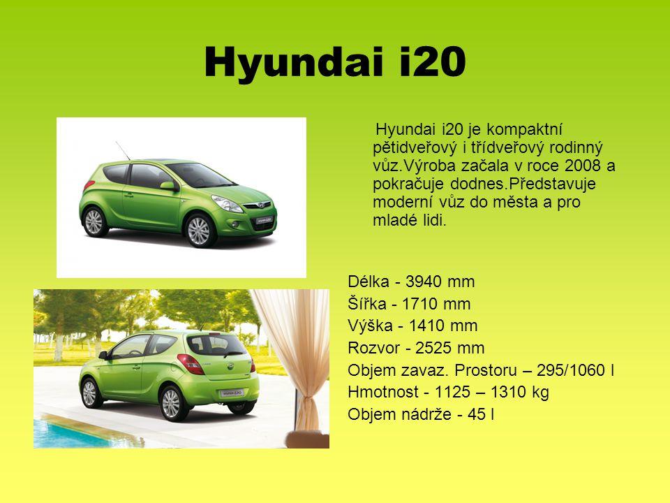 Hyundai i20 Hyundai i20 je kompaktní pětidveřový i třídveřový rodinný vůz.Výroba začala v roce 2008 a pokračuje dodnes.Představuje moderní vůz do měst