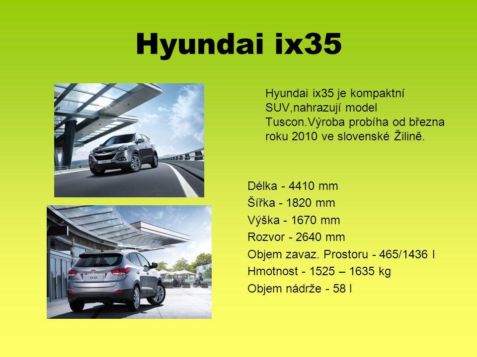Hyundai ix35 Hyundai ix35 je kompaktní SUV,nahrazují model Tuscon.Výroba probíha od března roku 2010 ve slovenské Žilině. Délka - 4410 mm Šířka - 1820