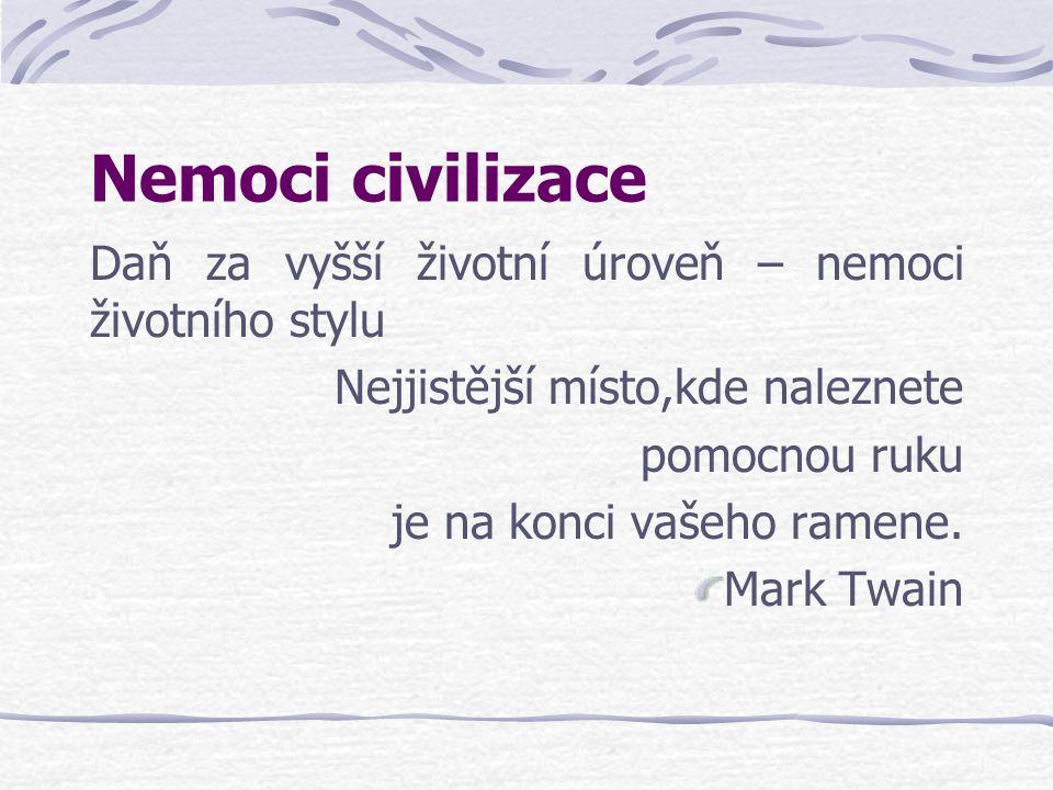 Nemoci civilizace Daň za vyšší životní úroveň – nemoci životního stylu Nejjistější místo,kde naleznete pomocnou ruku je na konci vašeho ramene. Mark T