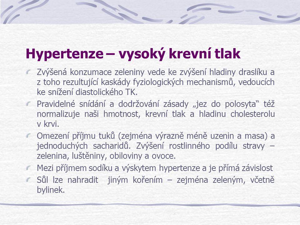 Hypertenze – vysoký krevní tlak Zvýšená konzumace zeleniny vede ke zvýšení hladiny draslíku a z toho rezultující kaskády fyziologických mechanismů, ve