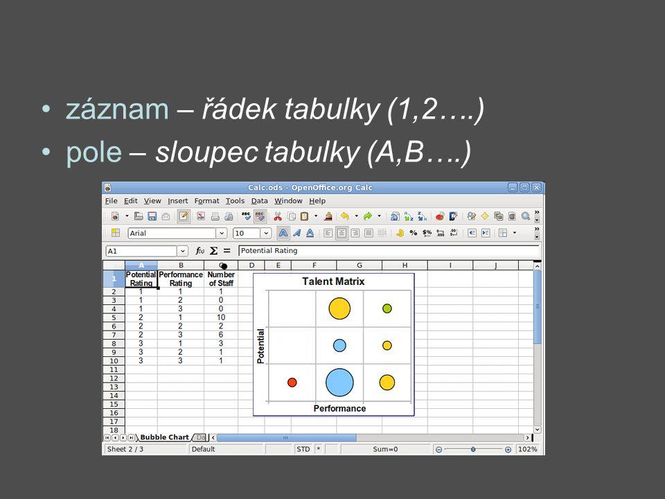 záznam – řádek tabulky (1,2….) pole – sloupec tabulky (A,B….)