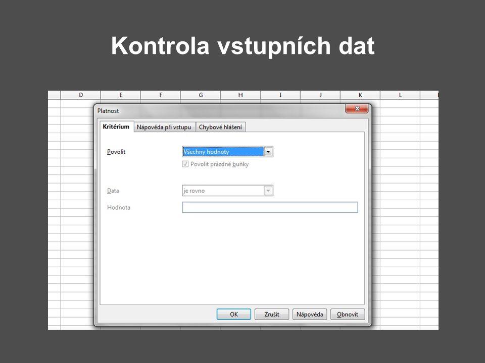 Kontrola vstupních dat