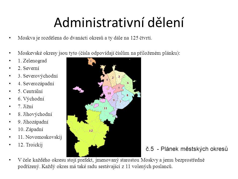Administrativní dělení Moskva je rozdělena do dvanácti okresů a ty dále na 125 čtvrtí. Moskevské okresy jsou tyto (čísla odpovídají číslům na přiložen