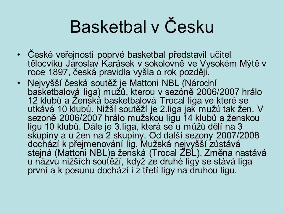 Basketbal v Česku České veřejnosti poprvé basketbal představil učitel tělocviku Jaroslav Karásek v sokolovně ve Vysokém Mýtě v roce 1897, česká pravidla vyšla o rok později.