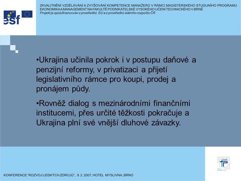 Ukrajina učinila pokrok i v postupu daňové a penzijní reformy, v privatizaci a přijetí legislativního rámce pro koupi, prodej a pronájem půdy.