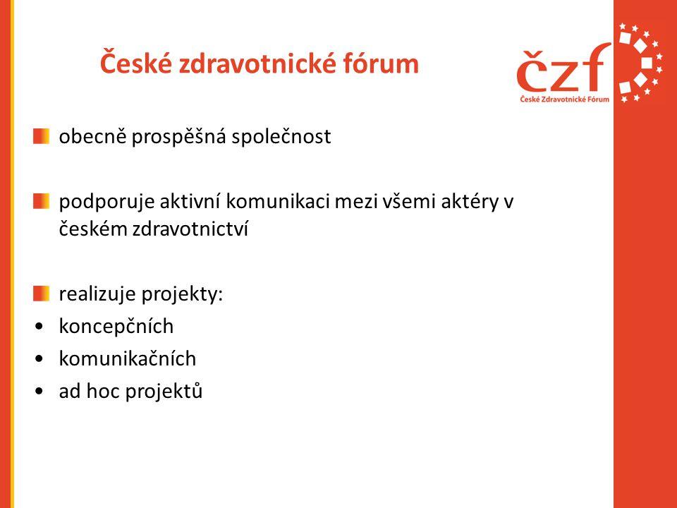 České zdravotnické fórum obecně prospěšná společnost podporuje aktivní komunikaci mezi všemi aktéry v českém zdravotnictví realizuje projekty: koncepčních komunikačních ad hoc projektů