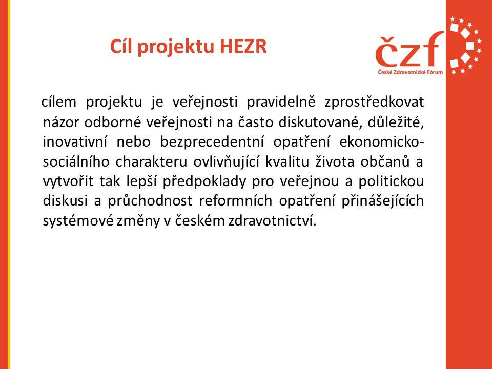 Cíl projektu HEZR cílem projektu je veřejnosti pravidelně zprostředkovat názor odborné veřejnosti na často diskutované, důležité, inovativní nebo bezp