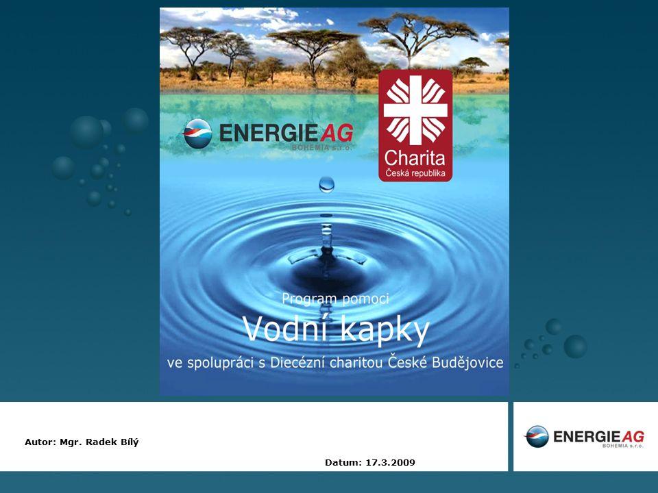 12 Spolupráce Diecézní charity ČB a Energie AG Bohemia za každý prodaný 1m 3 vody v jednotlivých dceřiných vodárenských společnostech: celkový objem prodané vody byl v roce 2008: 36 573 567 m 3