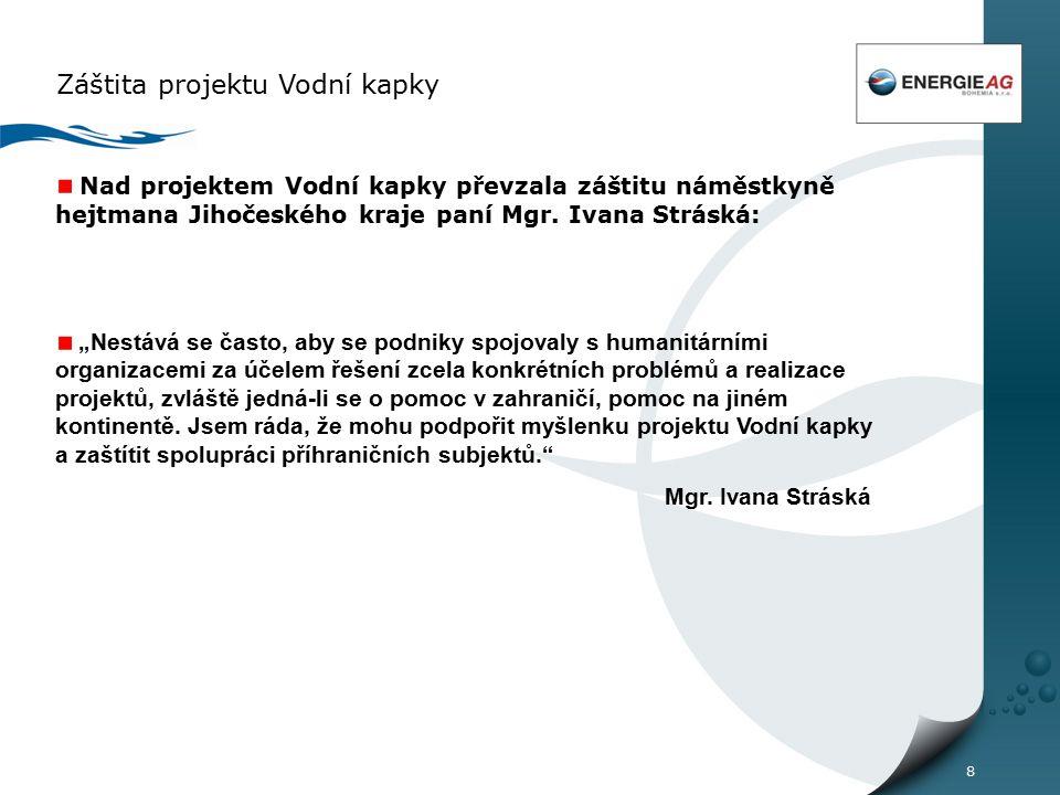 8 Záštita projektu Vodní kapky Nad projektem Vodní kapky převzala záštitu náměstkyně hejtmana Jihočeského kraje paní Mgr.