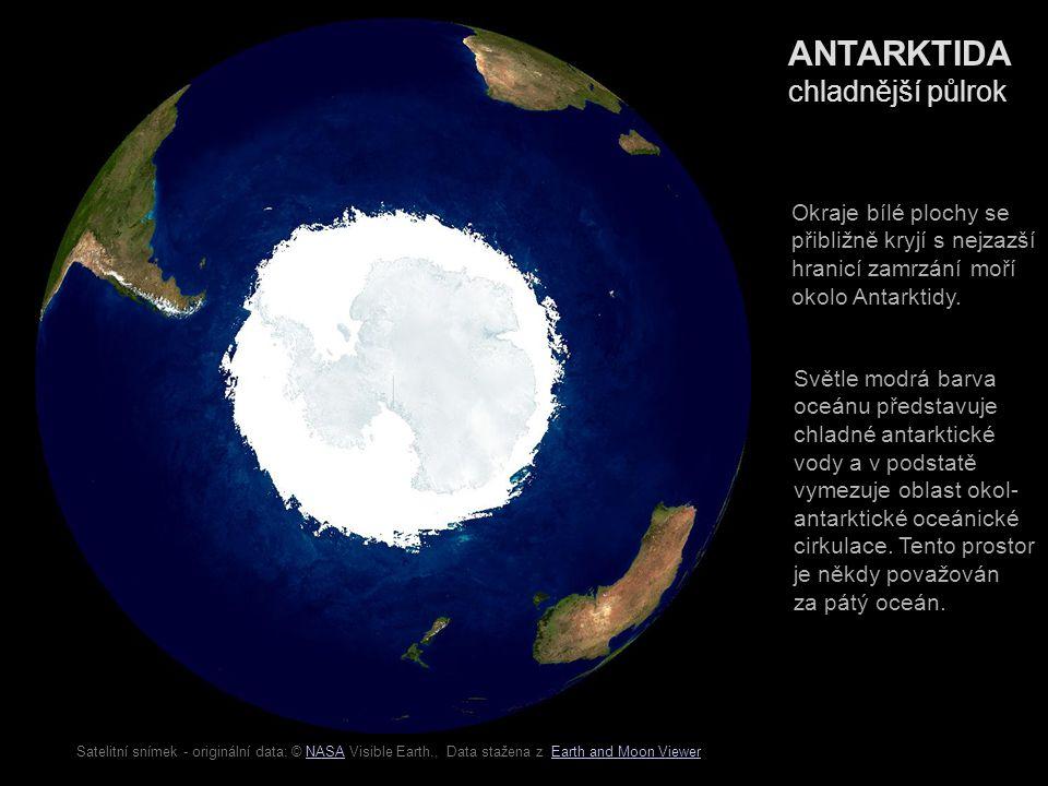 Satelitní snímek - originální data: © NGDC NOAA., Data stažena z Earth and Moon ViewerNGDC NOAAEarth and Moon Viewer ANTARKTIDA reliéf Povrch znázorněný od- stíny zelené, žluté, hně- dé a červené barvy se nachází nad úrovní hla- diny oceánu.