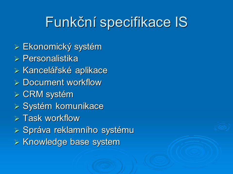 Funkční specifikace IS  Ekonomický systém  Personalistika  Kancelářské aplikace  Document workflow  CRM systém  Systém komunikace  Task workflow  Správa reklamního systému  Knowledge base system