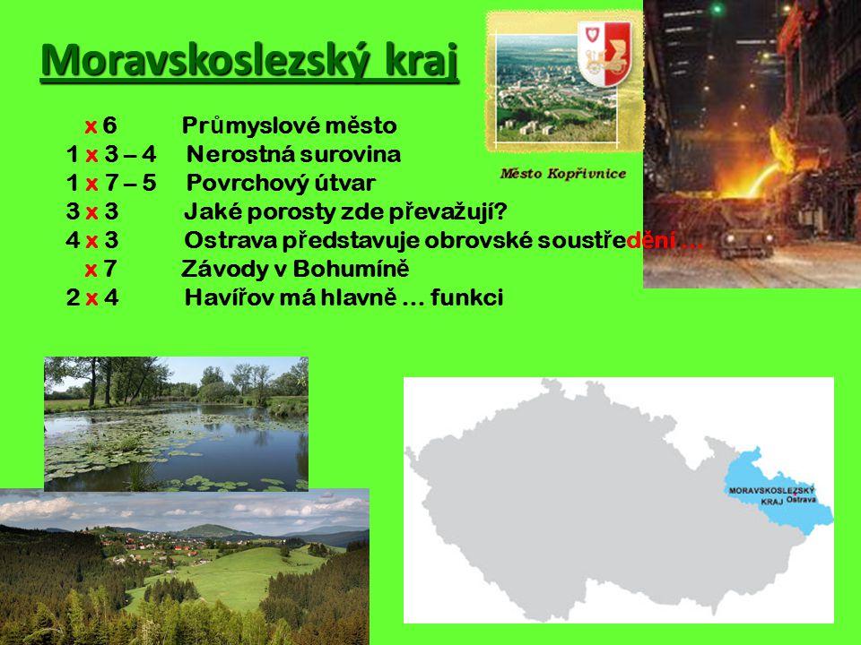 Moravskoslezský kraj x 6 Pr ů myslové m ě sto 1 x 3 – 4 Nerostná surovina 1 x 7 – 5 Povrchový útvar 3 x 3 Jaké porosty zde p ř eva ž ují.
