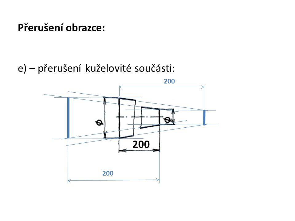 Přerušení obrazce: e) – přerušení kuželovité součásti: 200