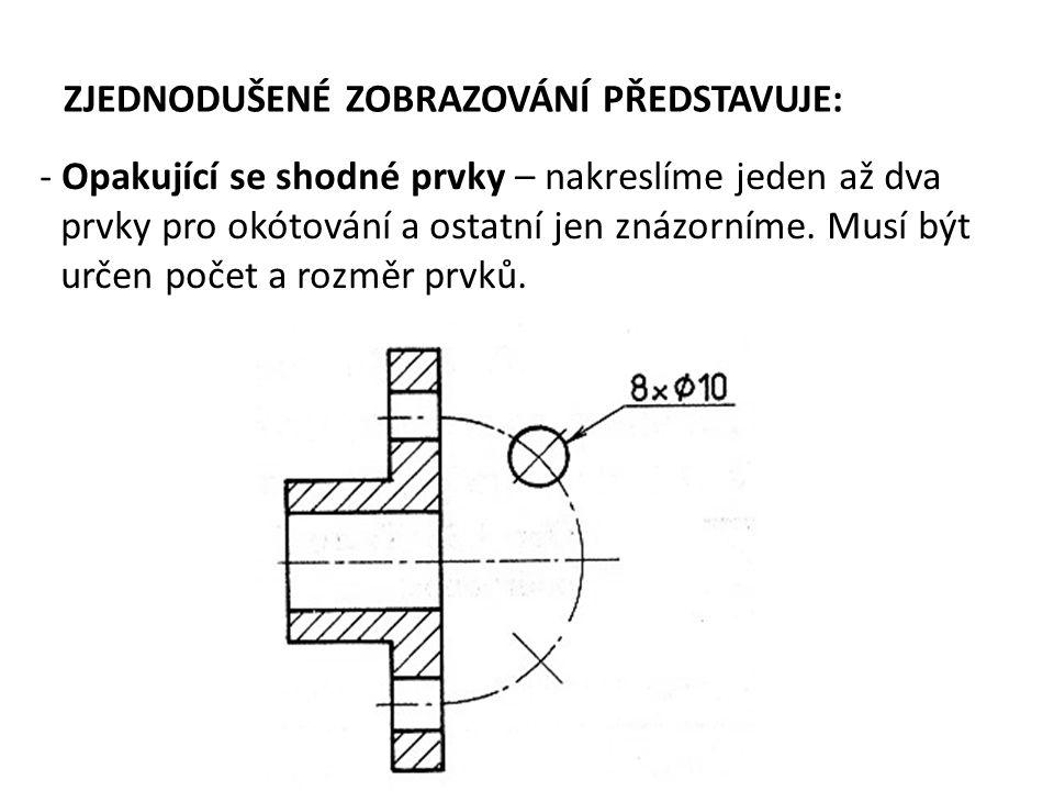 ZJEDNODUŠENÉ ZOBRAZOVÁNÍ PŘEDSTAVUJE: - Opakující se shodné prvky – nakreslíme jeden až dva prvky pro okótování a ostatní jen znázorníme. Musí být urč