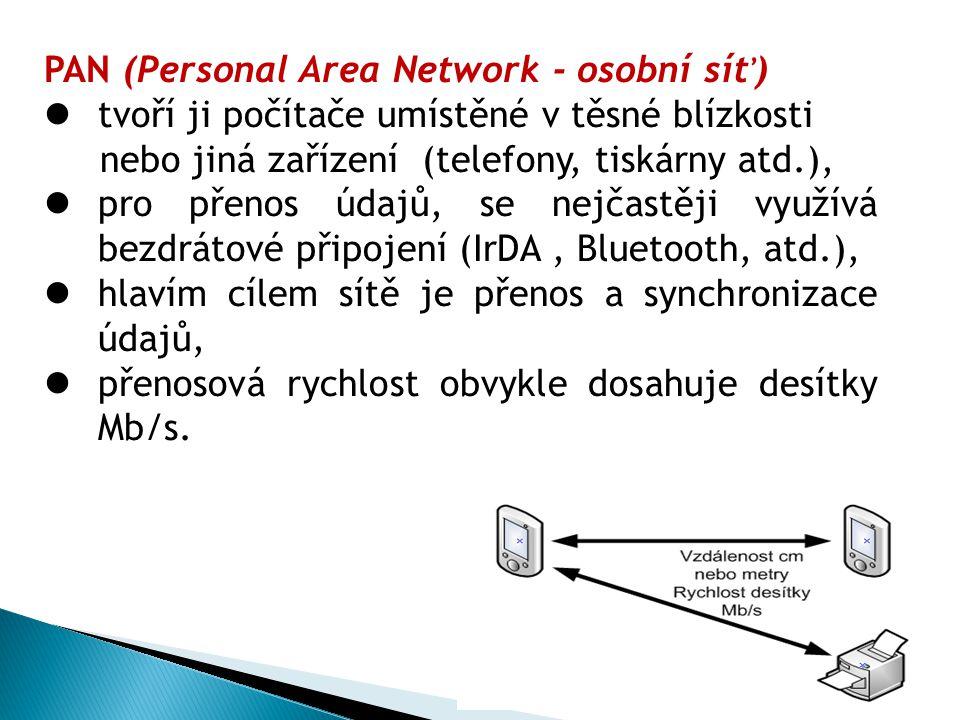 PAN (Personal Area Network - osobní síť) tvoří ji počítače umístěné v těsné blízkosti nebo jiná zařízení (telefony, tiskárny atd.), pro přenos údajů, se nejčastěji využívá bezdrátové připojení (IrDA, Bluetooth, atd.), hlavím cílem sítě je přenos a synchronizace údajů, přenosová rychlost obvykle dosahuje desítky Mb/s.