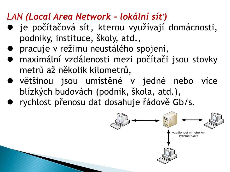 LAN (Local Area Network - lokální síť) je počítačová síť, kterou využívají domácnosti, podniky, instituce, školy, atd., pracuje v režimu neustálého spojení, maximální vzdálenosti mezi počítači jsou stovky metrů až několik kilometrů, většinou jsou umístěné v jedné nebo více blízkých budovách (podnik, škola, atd.), rychlost přenosu dat dosahuje řádově Gb/s.