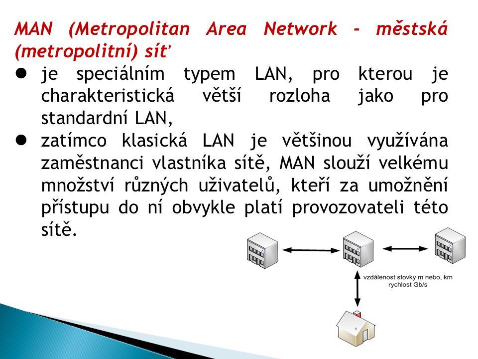MAN (Metropolitan Area Network - městská (metropolitní) síť je speciálním typem LAN, pro kterou je charakteristická větší rozloha jako pro standardní LAN, zatímco klasická LAN je většinou využívána zaměstnanci vlastníka sítě, MAN slouží velkému množství různých uživatelů, kteří za umožnění přístupu do ní obvykle platí provozovateli této sítě.