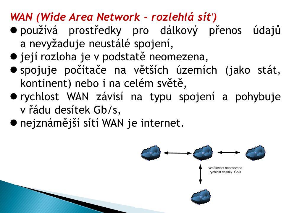 WAN (Wide Area Network - rozlehlá síť) používá prostředky pro dálkový přenos údajů a nevyžaduje neustálé spojení, její rozloha je v podstatě neomezena, spojuje počítače na větších územích (jako stát, kontinent) nebo i na celém světě, rychlost WAN závisí na typu spojení a pohybuje v řádu desítek Gb/s, nejznámější sítí WAN je internet.
