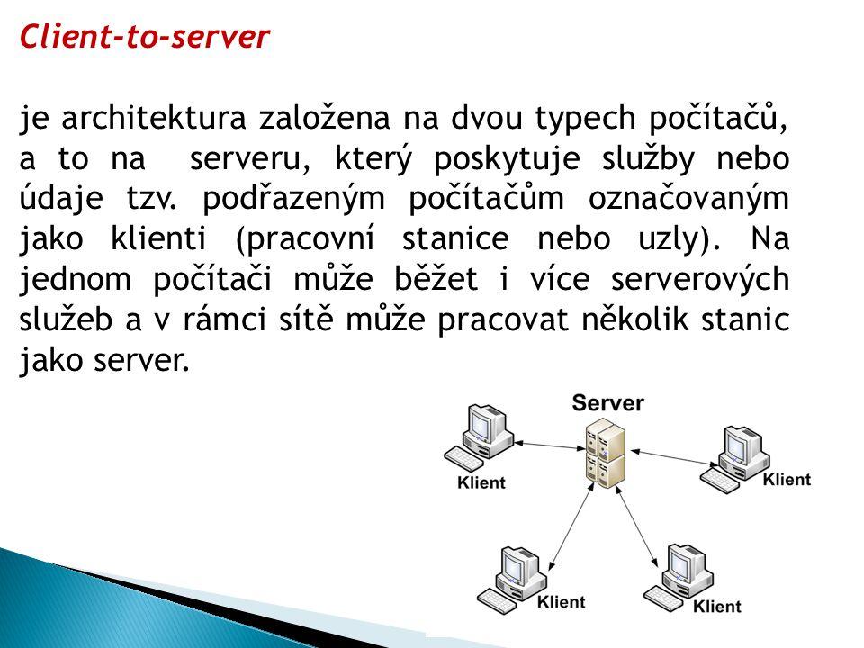 Client-to-server je architektura založena na dvou typech počítačů, a to na serveru, který poskytuje služby nebo údaje tzv.