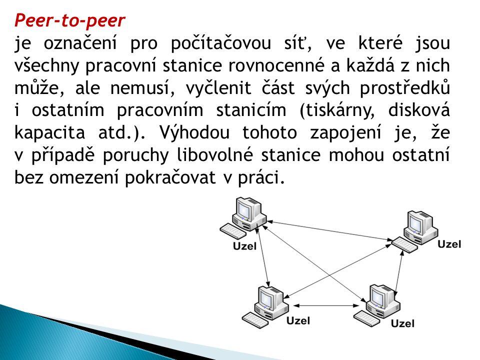 Peer-to-peer je označení pro počítačovou síť, ve které jsou všechny pracovní stanice rovnocenné a každá z nich může, ale nemusí, vyčlenit část svých prostředků i ostatním pracovním stanicím (tiskárny, disková kapacita atd.).