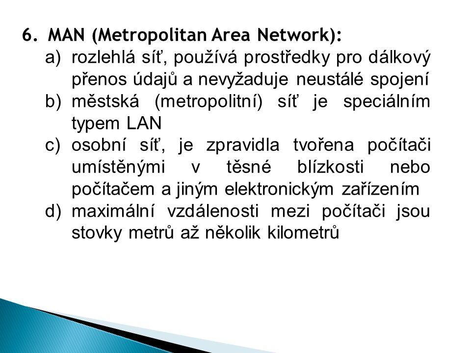 6.MAN (Metropolitan Area Network): a)rozlehlá síť, používá prostředky pro dálkový přenos údajů a nevyžaduje neustálé spojení b)městská (metropolitní) síť je speciálním typem LAN c)osobní síť, je zpravidla tvořena počítači umístěnými v těsné blízkosti nebo počítačem a jiným elektronickým zařízením d)maximální vzdálenosti mezi počítači jsou stovky metrů až několik kilometrů