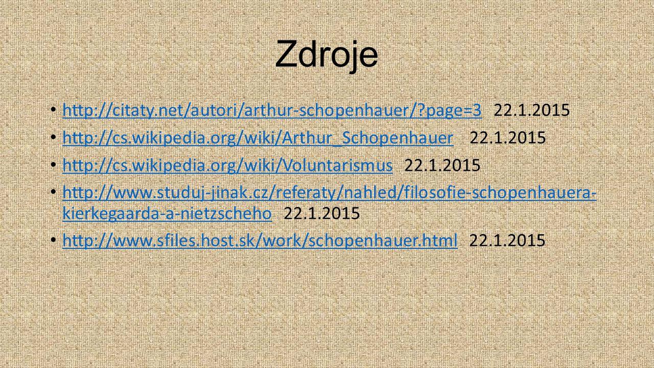 Zdroje http://citaty.net/autori/arthur-schopenhauer/?page=3 22.1.2015 http://citaty.net/autori/arthur-schopenhauer/?page=3 http://cs.wikipedia.org/wik