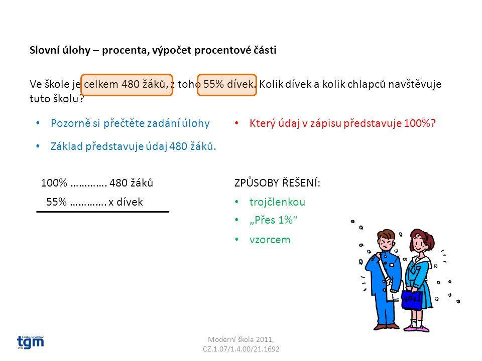 Moderní škola 2011, CZ.1.07/1.4.00/21.1692 Ve škole je celkem 480 žáků, z toho 55% dívek.