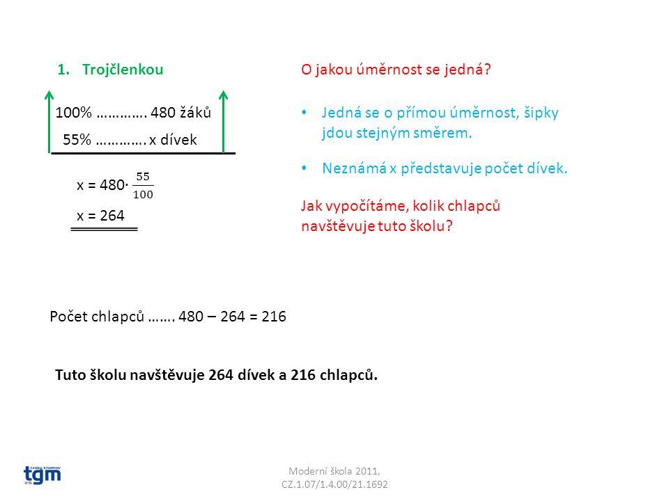 Moderní škola 2011, CZ.1.07/1.4.00/21.1692 2.Přes 1% 100% ………….